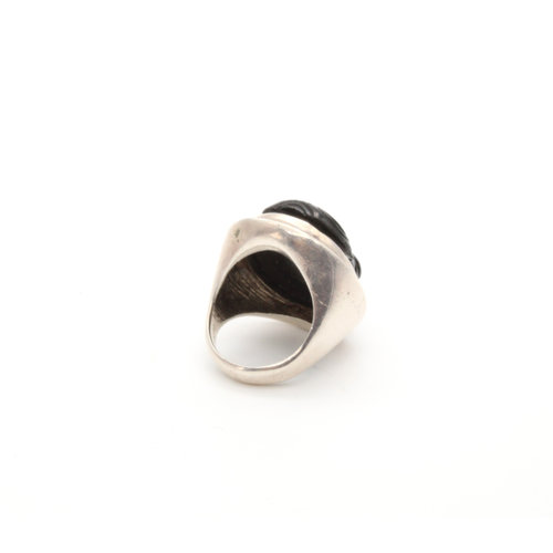 Sterling Scarab Onyx Ring
