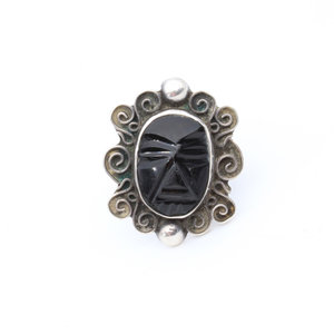 Sterling Onyx Mask Ring