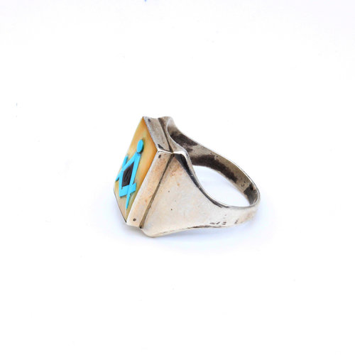 Sterling Turquoise Onyx Ring