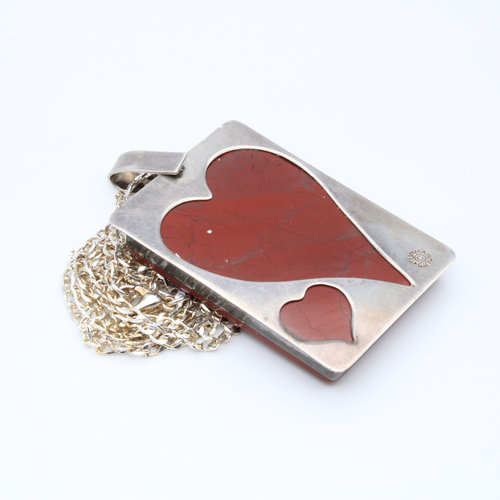 Sterling Jasper Queen of Hearts Pendant on Sterling Chain