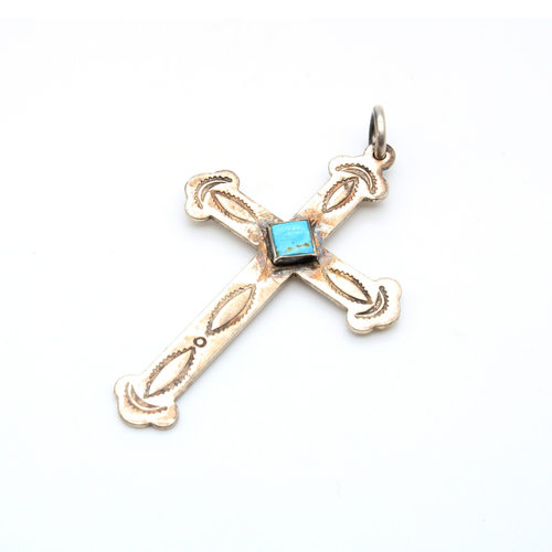 Sterling Turquoise Cross Pendant