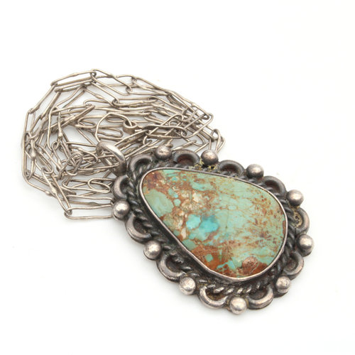 Sterling Fox Turquoise Pendant on Chain