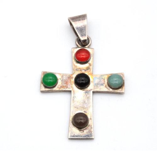 Sterling Multi Stone Cross