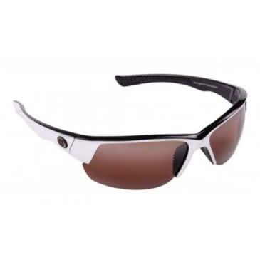 Strike King Strike King SG-S1154 Gulf Sunglasses, Dark Amber Brown, White/Black Plastic Frame, Half Rim, Unisex, One Size Fit