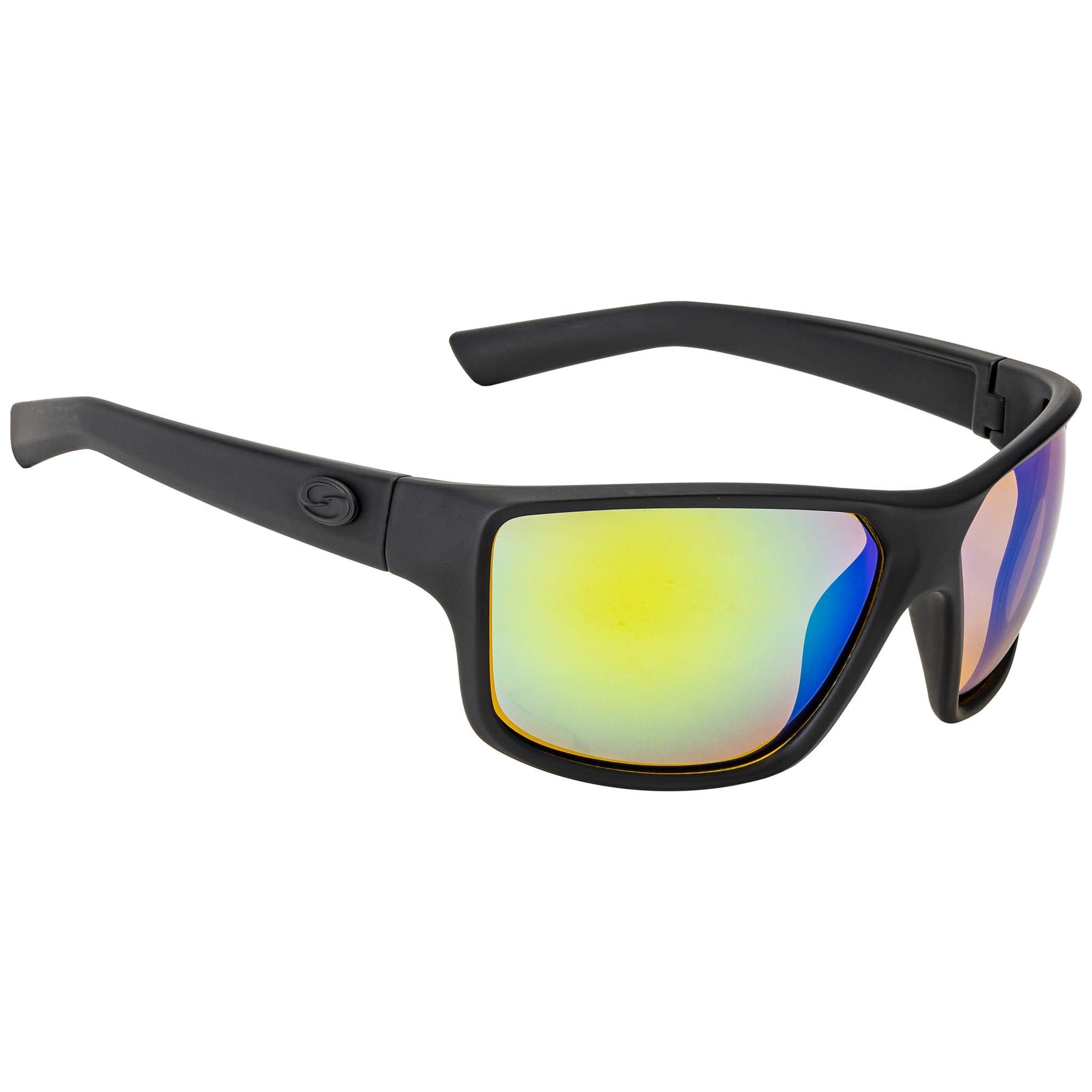 Strike King Strike King SG-S11401 S11 Optics Clinch Sunglasses Polarized, Matte Black/Green Mirror Amber Base