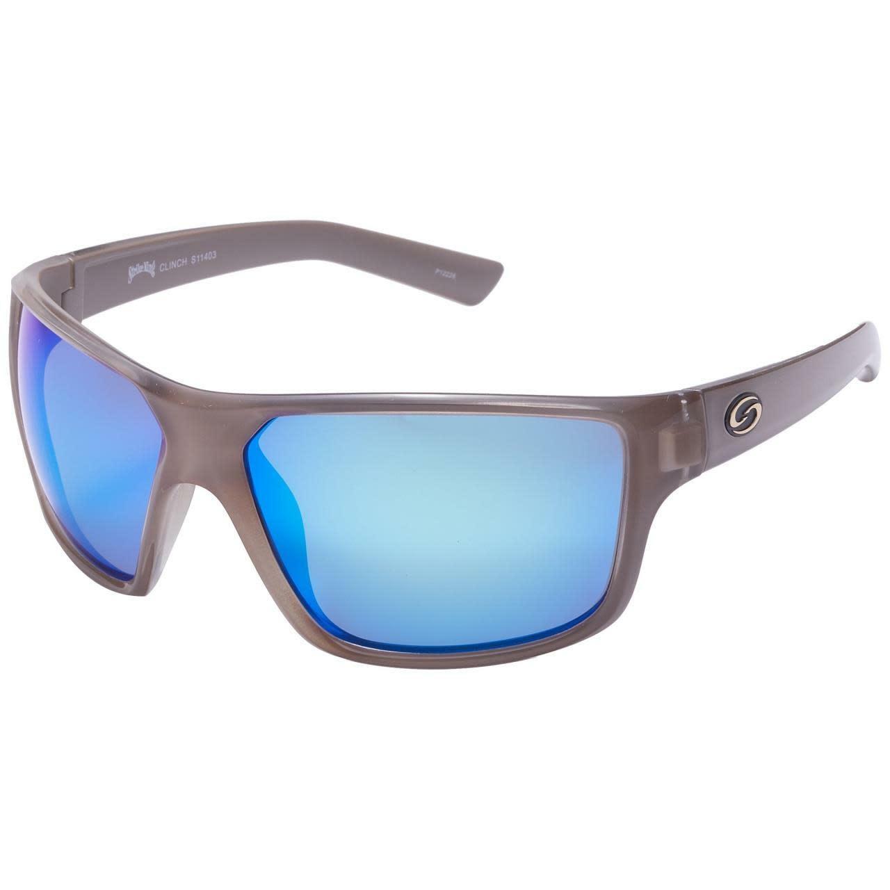 Strike King Strike King SG-S11403 S11 Optics Clinch Sunglasses Polarized, Crystal/White Blue Mirror