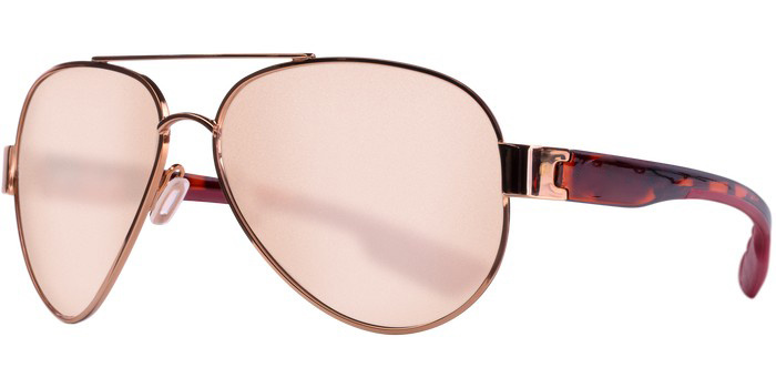 Costa Costa South Point Shiny Brushed Gold + Rose Tort Temples Silver Mirror 580G