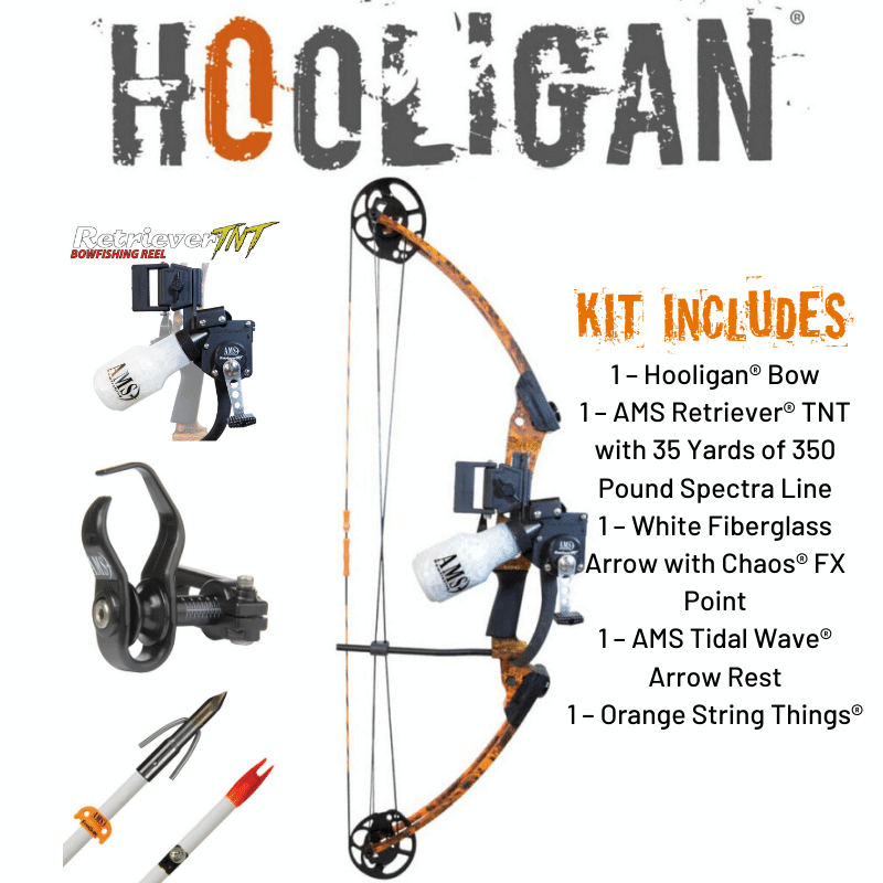 AMS AMS Hooligan Bowfishing Kit RH B805-RH 24-50lb Orange