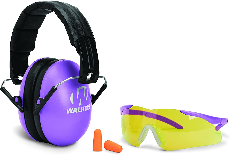 Walker's Walkers GWP-YWFM2GFP-PUR Youth and Women Combo Kit, Folding Muff, Sport Glasses, Foam Tips, NRR 23dB, Purple