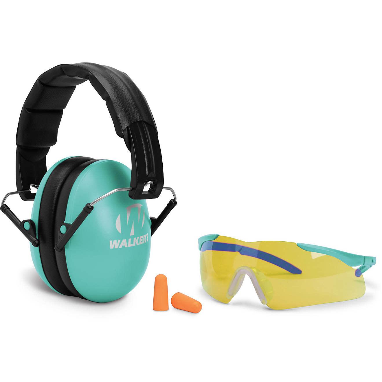 Walker's Walkers Youth and Women Combo Kit, Folding Muff, Sport Glasses, Foam Tips, Teal