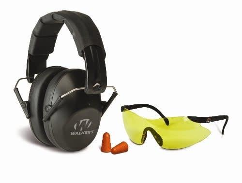 Walker's Walkers GWP-FPM1GFP Pro Safety Combo Kit, Low Profile Passive Folding Muff, Sport Glasses, Foam Tips, NRR 31dB