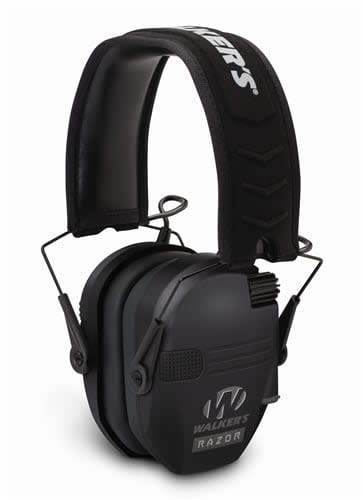 Walker's Walkers Razor Slim Shooter Folding Electronic Ear Muff, NRR23dB, Low Profile, HD Sound, Black