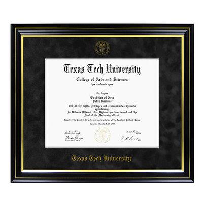 Diploma Frame Black Suede/Gold 8014