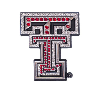 Auto Emblem Crystal Double T Red
