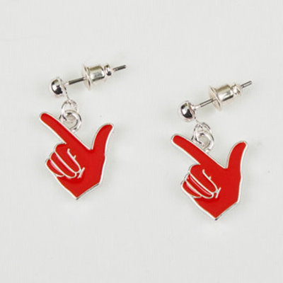 Guns Up Hand Earring