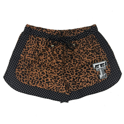 TTU Leopard & Polka Dot Trim Shorts