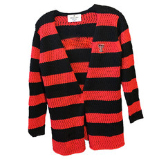 Red/Black Striped Cardigan Sweater