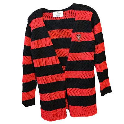 Red/Black Striped Cardigan Sweater