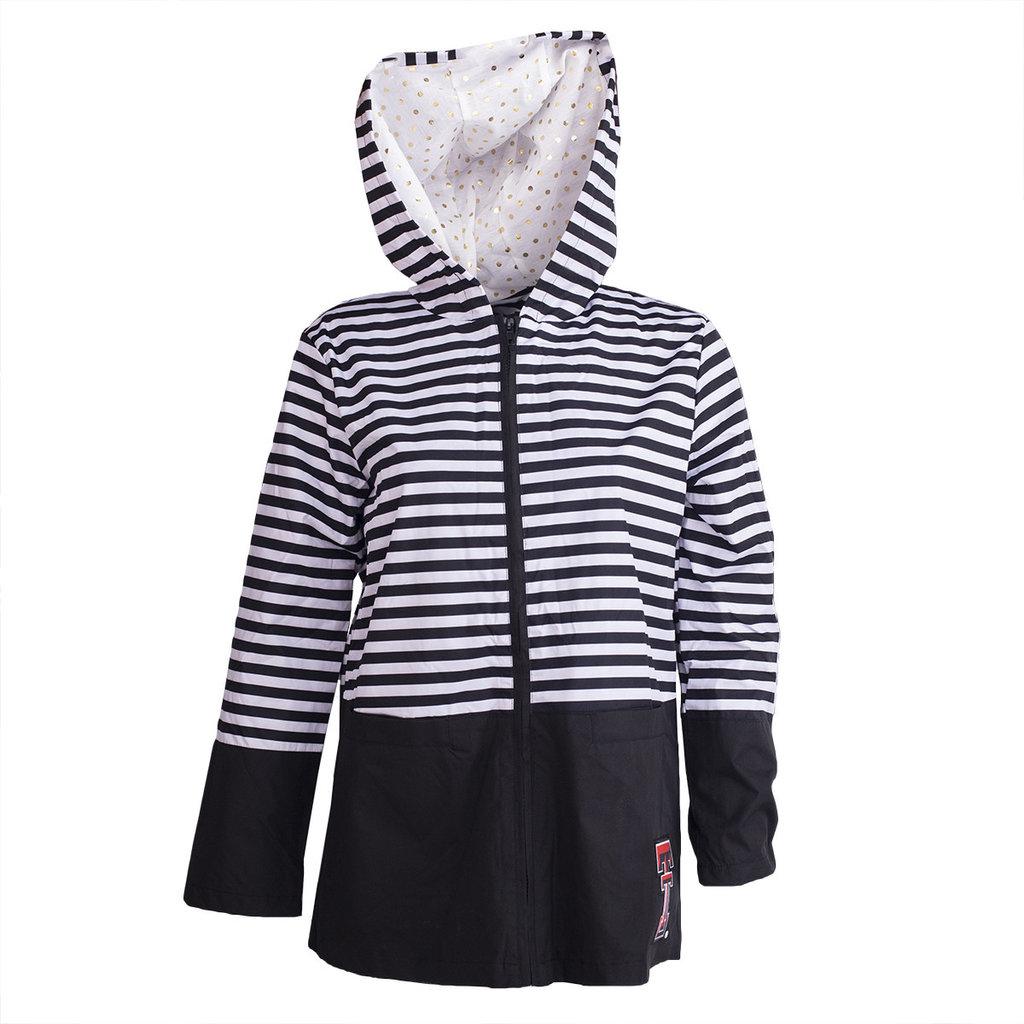 Striped Hooded Ladies Rain Jacket