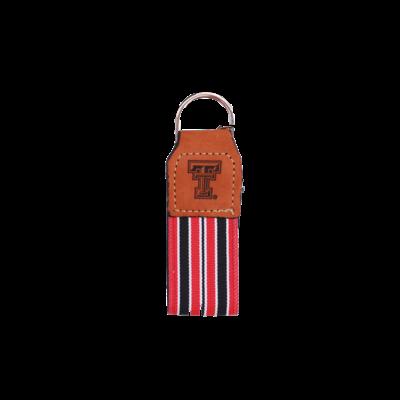 Stripe Ribbon Leather Embossed Key Fob