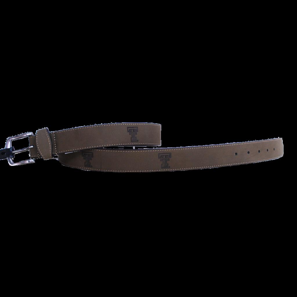 Crazy Horse Light Brown Leather Embossed Belt