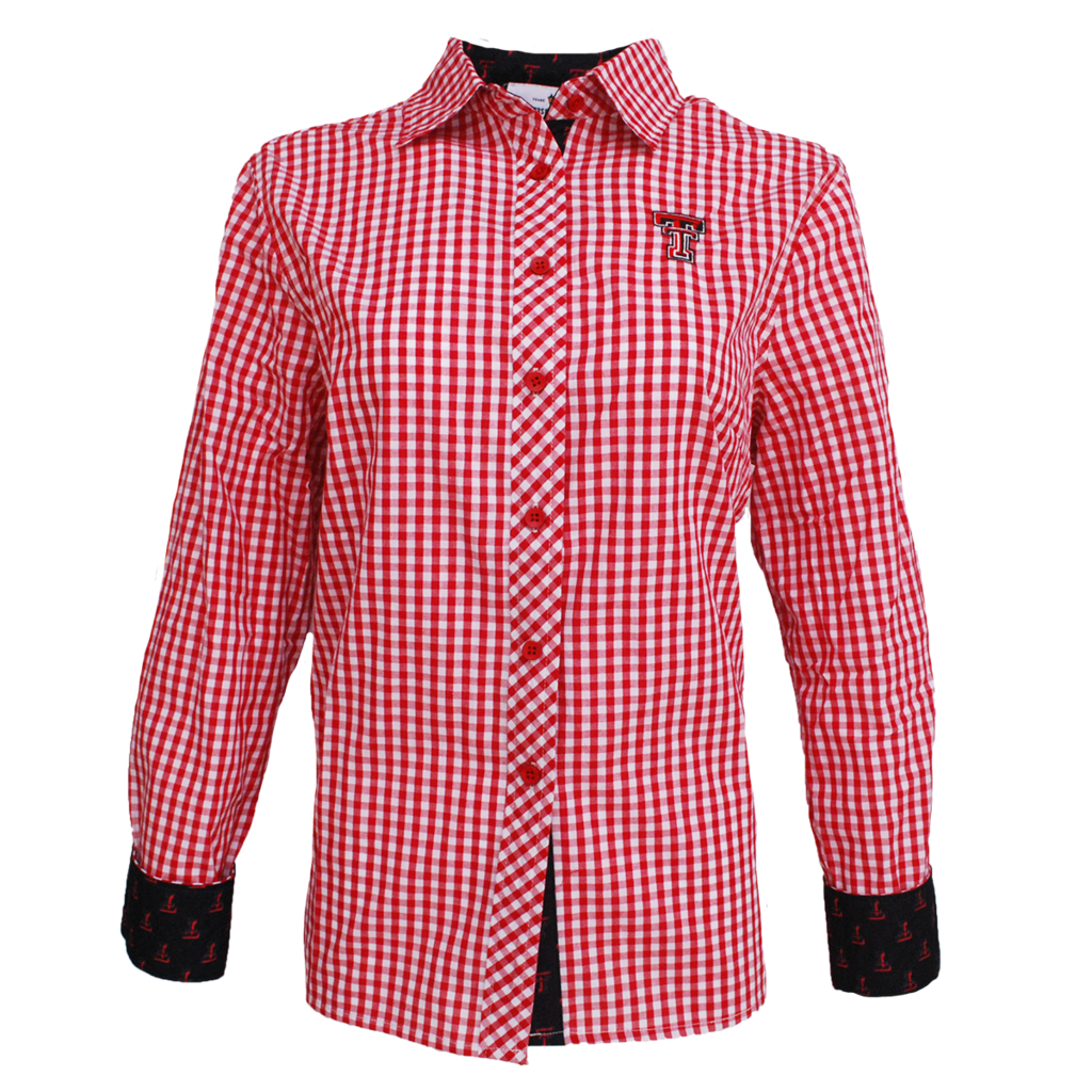 Ladies Gingham Button Down with Contrast Cuff