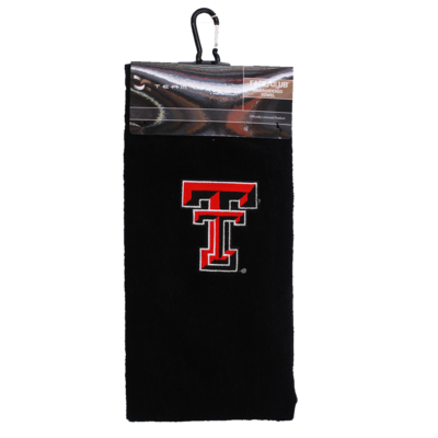 Face/Club Embroidered Black Towel