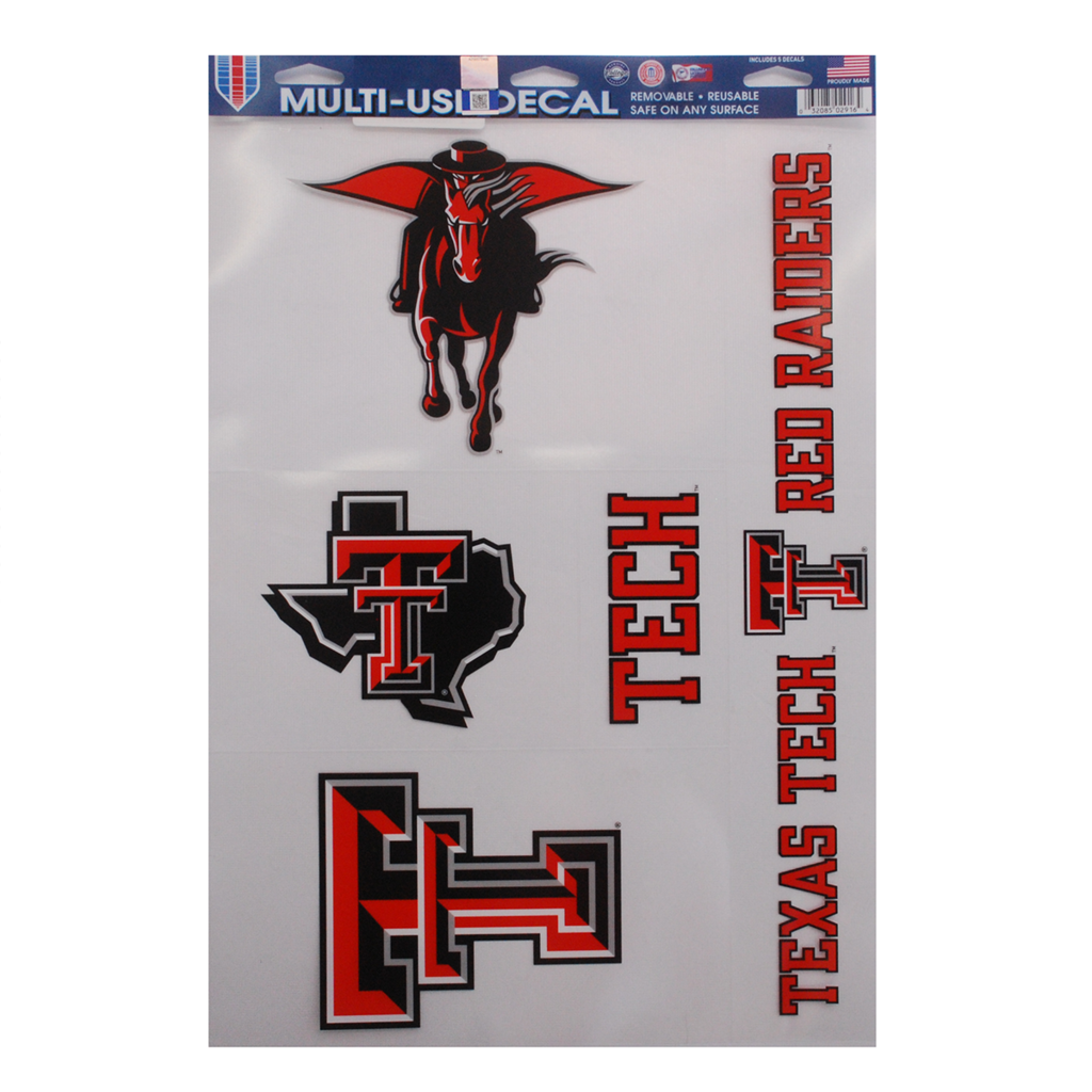 11x17 Clear Texas Tech 5 Decal Pack