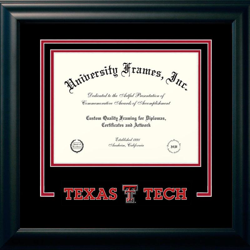 Satin Black Logo Name Diploma Frame