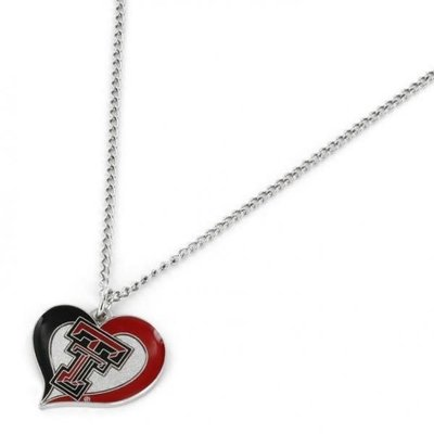 Texas Tech Swirl Heart Necklace