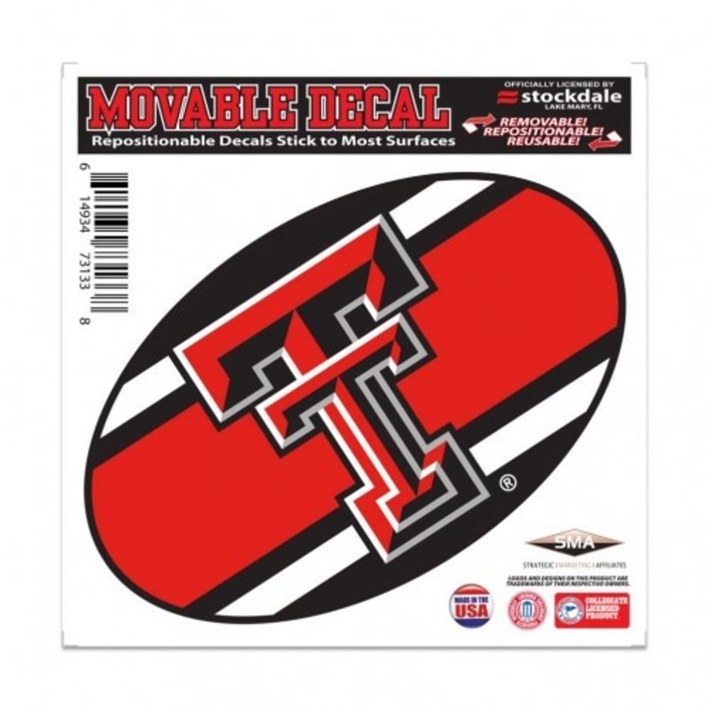 """Striped Oval Double T Decal 8""""x8"""""""