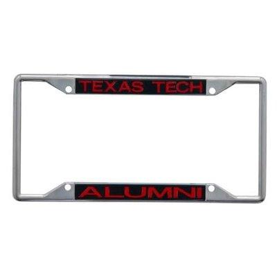 Laser Cut License Plate Frame Chrome Black/Red Alumni