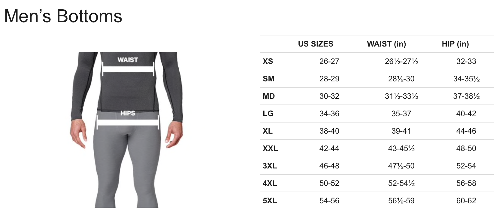 Men's Sizing - Under Armour