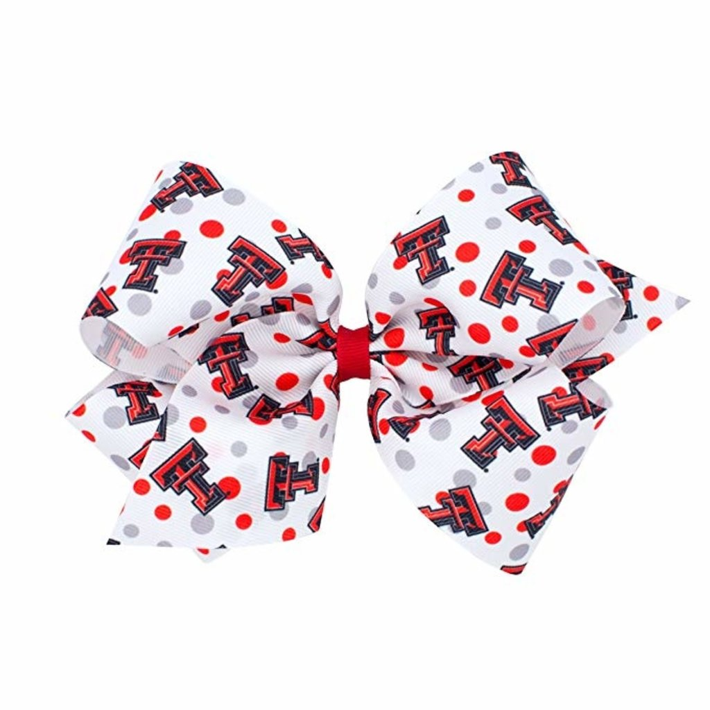 Wide King College Print Red/Black Bow