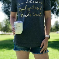 Touchdowns & Tailgates Ladies Cold Shoulder Tee