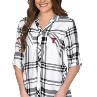 Ladies Satin Weave Plaid Button Down