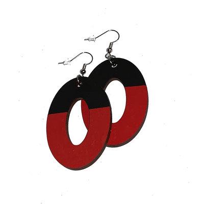 Simply Cam Co Oval Dangle Two Tone Earrings