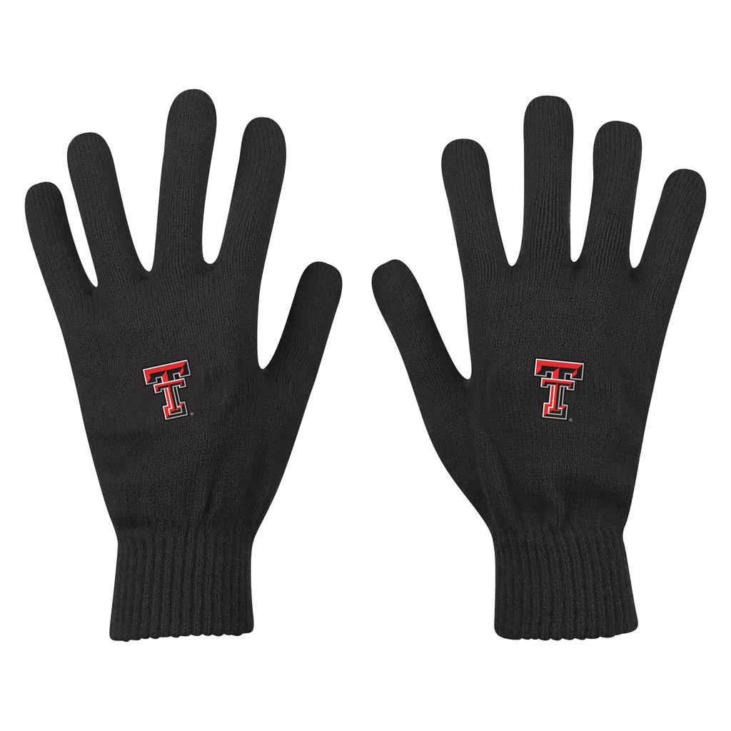 Knit Gloves with Double T - Black