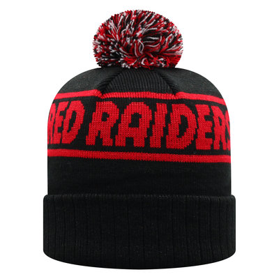 Ruth Cuffed Pom Knit Toboggan - Black with Red Sparkle