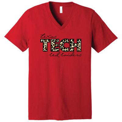 Cheetah Red Raiders Short Sleeve V-Neck Tee