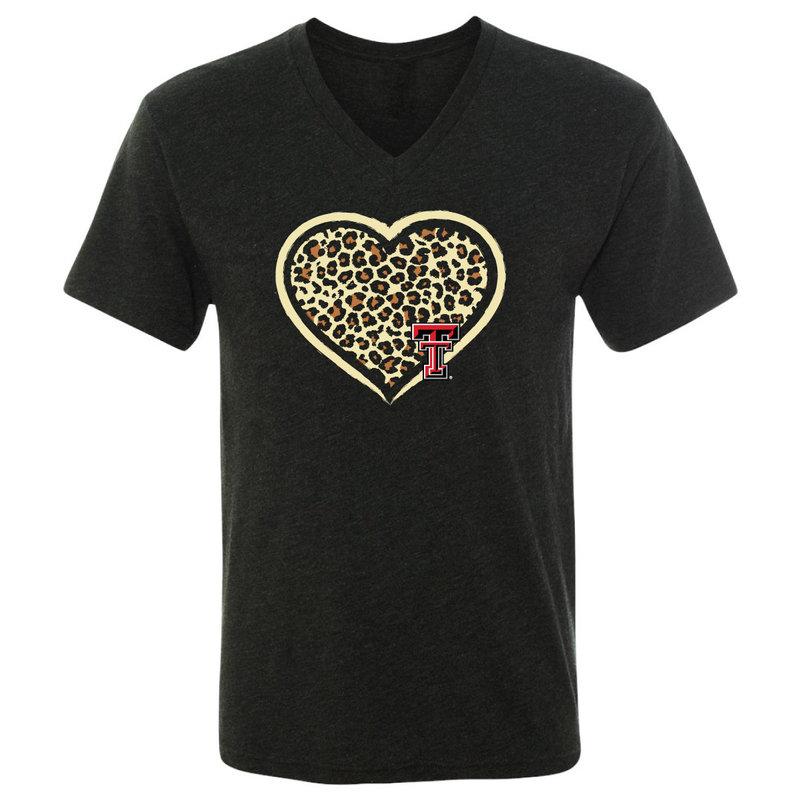 Cheetah Heart Short Sleeve V-Neck Tee