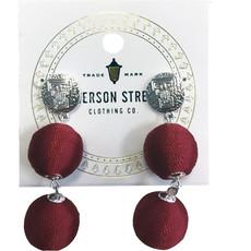 Sonata Treaded Bead Earrings Red/Silver