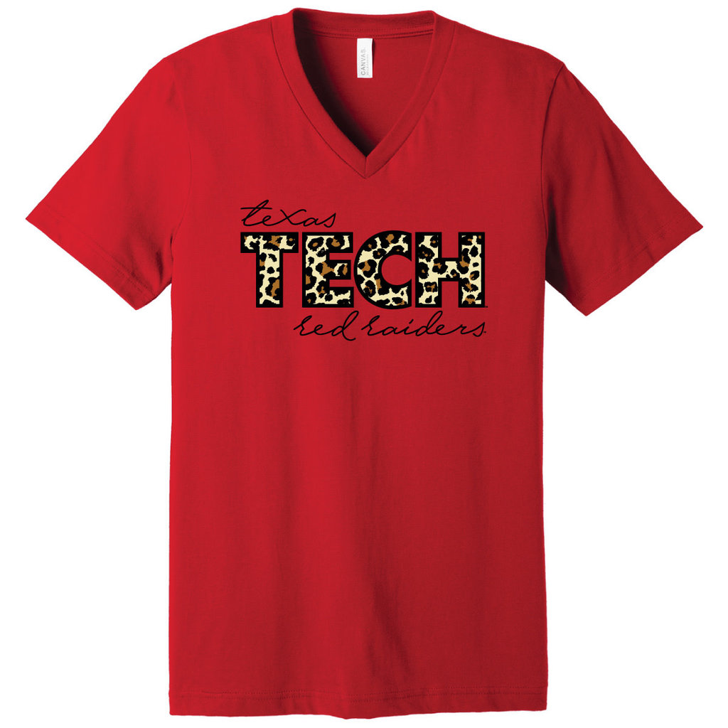 Cheetah Red Raiders Short Sleeve V-Neck Tee
