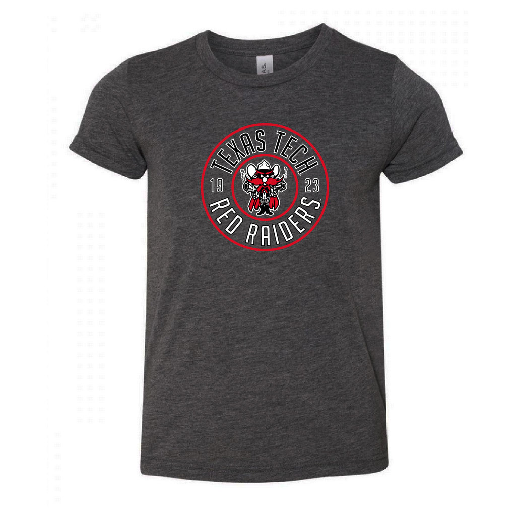 Raider Red Round Youth Short Sleeve Tee - 3 Color Options