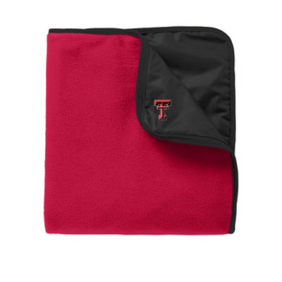 Fleece & Poly Travel Blanket Black/Red