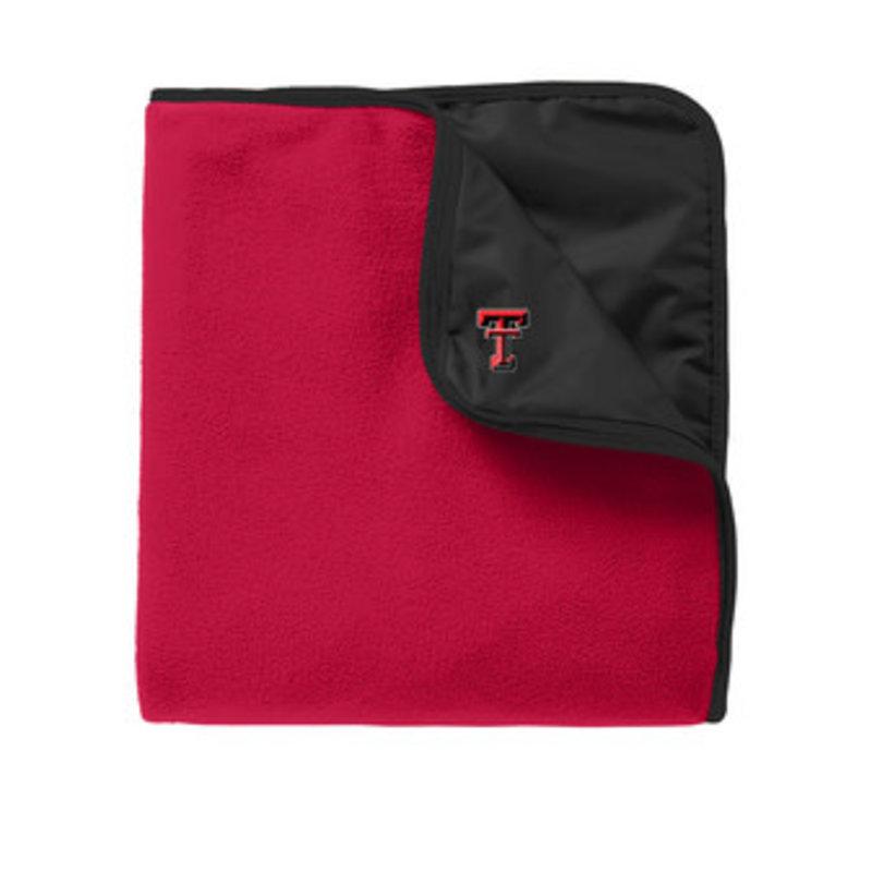 Fleece & Poly Travel Blanket Black/Red