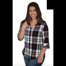 Ladies Plaid 3/4 Sleeve Button Down Tunic