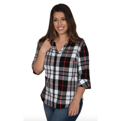 Ladies Plaid 3/4 Sleeve Button Down Tunic