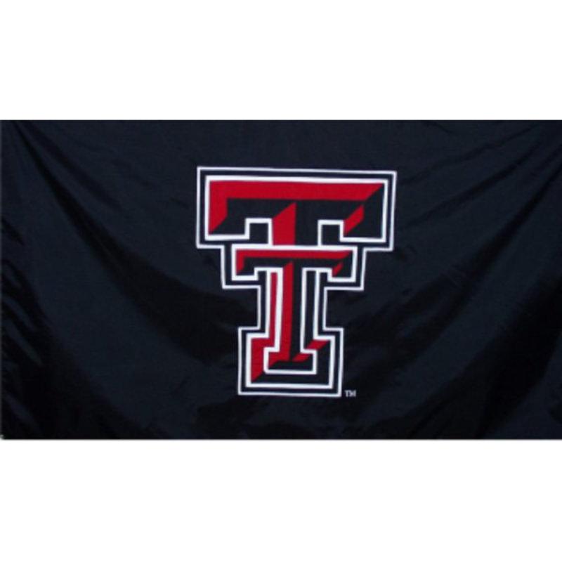 3 x 5 Black Applique Flag w/ Double T