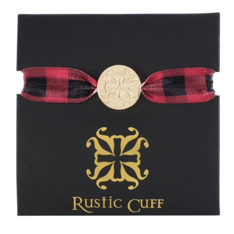 Rustic Cuff Mary Lou Plaid Red/Black Hair Tie